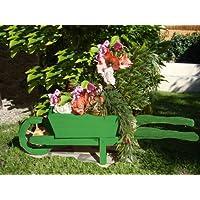 Greentree Brouette enfant Brouette de jardin en bois décoratif Brouette de jardin pour plantes 125 CM, plante, HSC - 125-Pot Vert gazon végétaux, bois, 1 Vert Couleur amazon Vert/vert foncé avec Glaze Vernis à base d'eau Pots de plantes