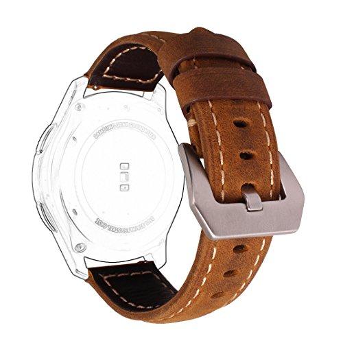 Armbänd für Samsung Gear S3, Rosa Schleife Klassischem Leder Armband für Samsung Gear S3 Frontier / S3 Classic Uhrenarmband Ersatzband Smart Watch Lederarmband Uhr Band Einstellbar Wrist Band Strap mit Edelstahl Schnalle Braun