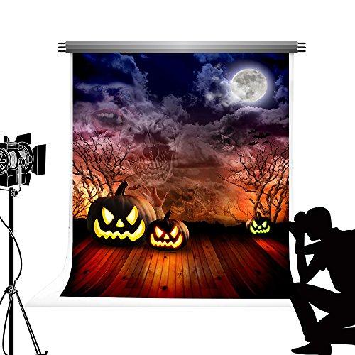 Kate Halloween Foto Hintergrund Kürbis Mond Nacht Hintergrund mit Holzboden Photocall für Studio Fotografie 6,5 x 10 ft / 2x3m