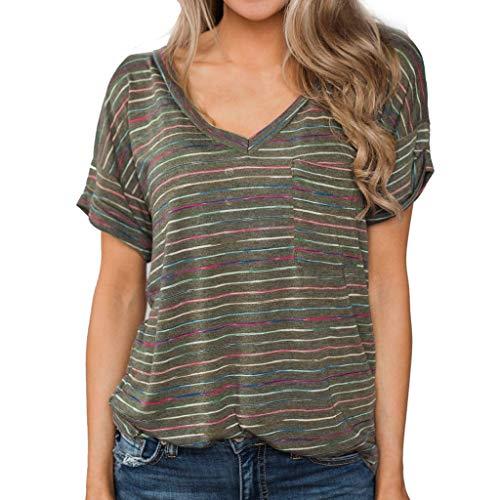 TWIFER Damen Sommer Shirt Verknotet T-Shirt V-Ausschnitt Flare Ärmel Strap Kurzarm Top