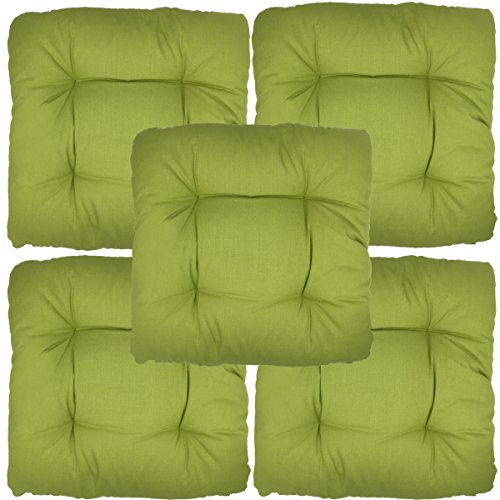 Preisvergleich Produktbild proheim Stuhlkissen Bari 40 x 40 cm Sitzkissen Sparsets bequeme Gartenkissen stark gepolstere und weiche Stuhlauflage, Menge:5er Set, Farbe:Apfelgrün