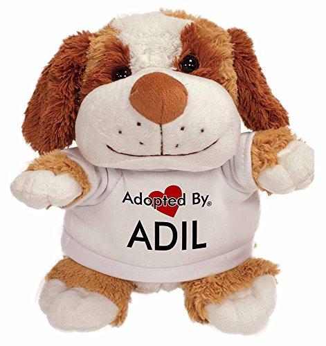 Preisvergleich Produktbild Adopted By ADIL Cuddly Dog Teddy Bear Wearing a Printed Named T-Shirt