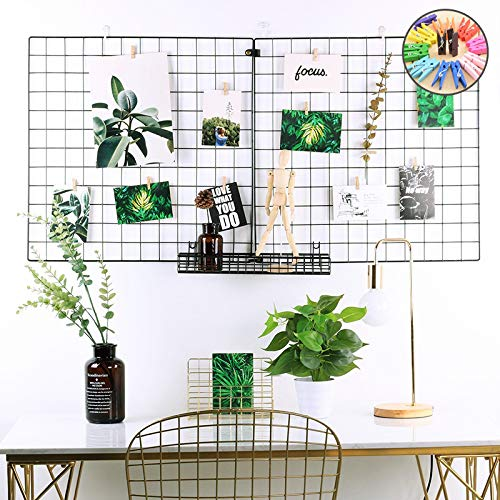 ZONYEO 2 Sets Multifunction Black Metal Slat Grid Panel for Photo or Wall Décor, Postcard Display& Organizer, Suitable for Bedroom, Living Room, Kitchen - 14'×14'(Square) -