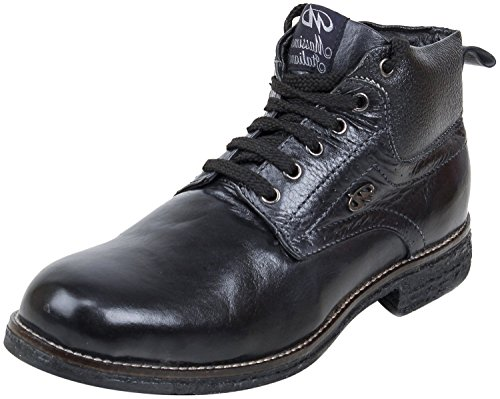 Massimo Italiano Men's Black Leather Desert Boots - 8 UK