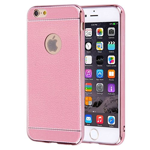 iPhone Case Cover Pour iPhone 6 & 6s 3D Litchi texture Soft TPU étui de protection ( Color : Magenta ) Pink
