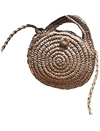 Doitsa Bolso de Paja Redondo de Hombro Vintage Moda Straw Bag Loisirs – Bolsa de Viaje