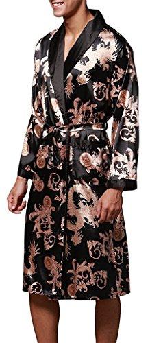 """Edith qi Herren 45""""inch Lange Klassische Satin Schlafanzüge Charmeuse Morgenmantel Homewear , Kimono Bademäntel Robe mit Gürtel, Multicolor -Muster, Größe für L-XXL Schwarzen Drachen-032B"""
