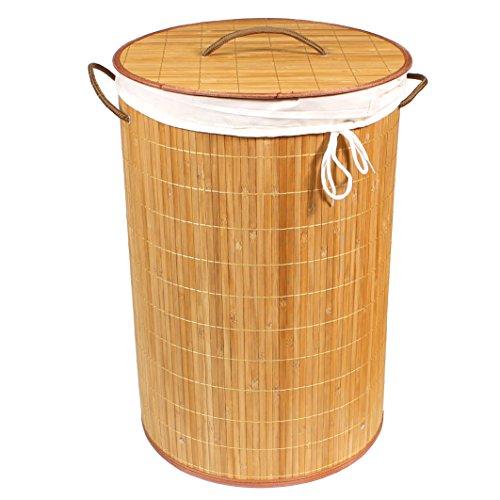 BigDean Wäschekorb 70l Bambus RUND Natur 60x40 Wäschetruhe Wäschesammler Wäschebox Wäschesack