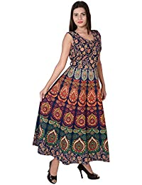 Jaipuri Fashionista Designer Cotton Women's Maxi Long Dress Jaipuri Printed (Free Size Upto 44-XXL)