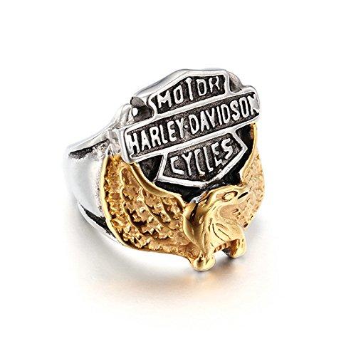 SanJiu Schmuck Herren Ringe Edelstahl Ring Runde Form Adler Muster Retro Gotik Biker Punk Klassisch Ring für Herren Gold Schwarz Silber Größe 70 (22.3) (Adler Nähen)