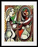 Pablo Picasso Jeune fille devant un miroir Poster Kunstdruck Bild im Alu Rahmen in schwarz 50x40cm