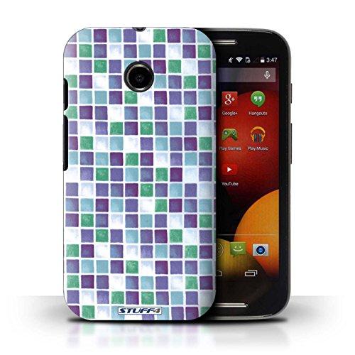 Kobalt® Imprimé Etui / Coque pour Motorola Moto E (2014) / Bleu/Blanc conception / Série Carreau Bain Violet/Vert