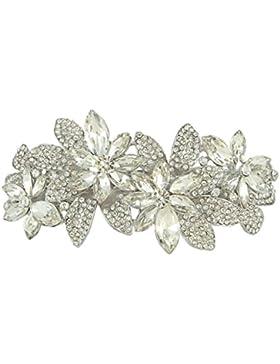 Ever Faith österreichische Kristall elegant Art Deco Blume Haarspange Haarschmuck Silber-Ton N00733-1