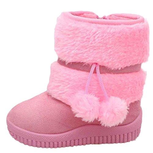 Clode® Mädchen Ball Baumwollart und weise Winter Baby Kind Art Baumwollstiefel warme Schnee Aufladungen Rosa