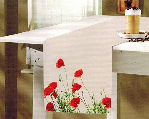"""Tischläufer """" Mohnblüten - Meer """" - 40 cm x 140 cm - Markenqualität zum TOP - PREIS - hochwertiger Aquarell - Druck auf elfenbeinfarbenem Tuch - stilvoll und elegant - genähter wertiger Saum"""