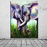 FPO&FGL Ölgemälde Ungerahmt Günstige Leinwanddruck Bunte Zwei Elefanten Kopf An Kopf Tiermalerei Home Dekorative Bilder für Wandgemälde, 26x34