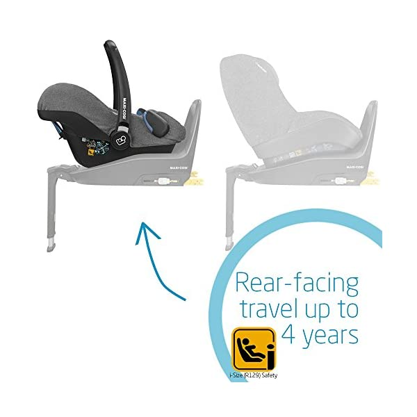 Maxi-Cosi Rock Baby Car Seat Group 0+, ISOFIX, i-Size Car Seat, Rearward-Facing, 0-12 m, 0-13 kg, Sparkling Grey Maxi-Cosi Baby car seat, suitable from birth to 13 kg (birth to 12 months) Enhanced safety: This Maxi-Cosi car seat complies with the i-Size (R129) car seat legislation Baby-hug inlay of this Maxi-Cosi i-Size car seat offers a better fit and laying position for newborns 6