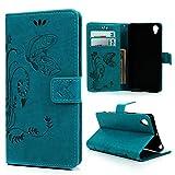 MAXFE.CO Lederhülle Leder Tasche Case Cover für Sony