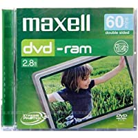 Maxell Mini DVD-RAM 8 Cm 6 Pack Camcorder disc, each IN JEWEL CASE, 60Min (double sided) 2.8GB and 5 x Speed. Scratch Proof