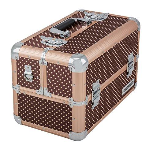 anndora Beauty Case Kosmetikkoffer Schmuckkoffer 21 Liter Alu braun mit Punkten - 2