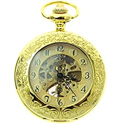 itemstoday Full Yellow Gold Automatic Antique Unisex Pocket Watch with Chain and Box