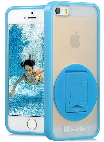 GreatShield Vogue Series Coque en PC + TPU avec béquille de rotation 360° pour Apple iPhone 5 bleu