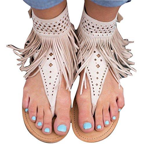 cdab84335 Dingcaiyi Womens Summer Vintage Flats Footwear Boho Roman Clip Toe Rhinestones  Slingback T-Strap Sandals Thong ...