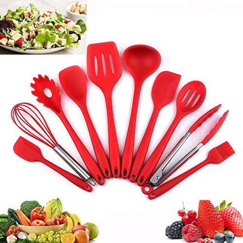 Utensilios Cocina de Silicona 10 Piezas, Juego de Cocina Resistente al Calor, pinzas, batidor Silicona...