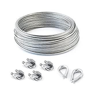 SET 100m steel wire rope galvanised 3mm strand: 6x7 + 4 clips + 2 thimbles - many sizes avaliable