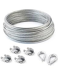 SET 30m câble acier galvanisé 6x19 6mm + 4 serre-câbles étrie et 2 cosse coeur