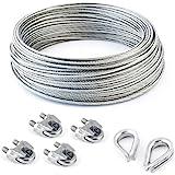 SET 50m câble acier galvanisé 6x7 3mm + 4 serre-câbles étrie et 2 cosse coeur
