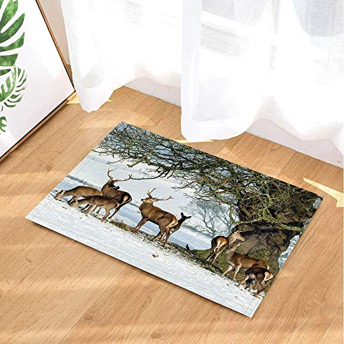 SRJ2018 Brown Fur Reindeer Herd Perched in the Snow Under a Large Super Absorbent Tree, Non-slip Mat or Door Mat, Soft and Comfortable