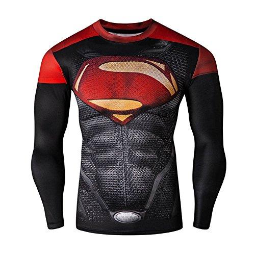 CT29Stampa 3d rosso stretto Compressione Shirt Top a maniche lunghe, per sport Fashion Red XL