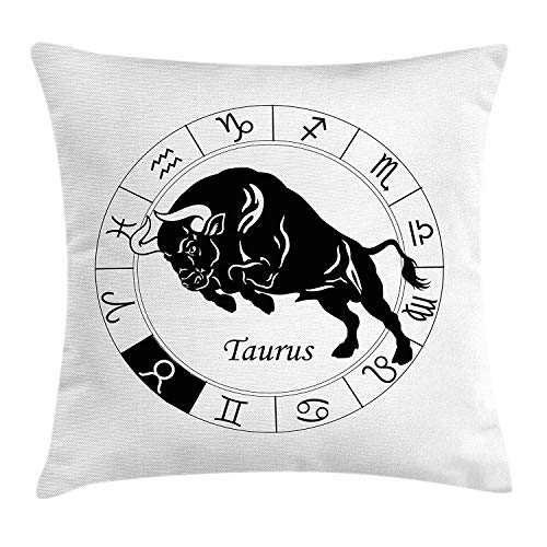 EJjheadband Zodiac Taurus Throw Pillow Cushion Cover, Mythological Ox Jumping Silhouette in a Zodiac Wheel with Twelve Signs, Decorative Square Accent Pillow Case, 18 X 18 inches, Black and White (Cat Wheel Company)