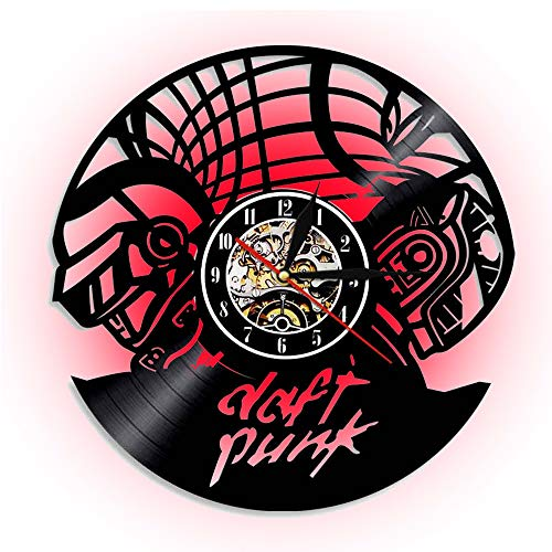 ccww Daft Punk CD Acryl Wall Uhr, LED Vinyl Record Night Light, Silent Non-Ticking, Used In The Kitchen Office Bedroom (12 Zoll/30cm Black)