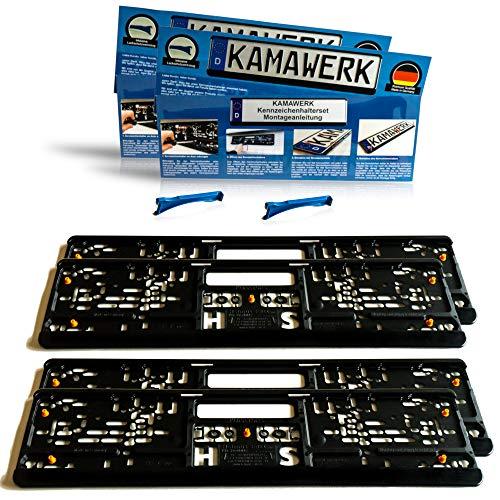 KAMAWERK Kfz Kennzeichenhalter Auto (4er Set) Schwarz - Nummernschildhalterung 52cm EU Standard Kennzeichen - Lackschutz