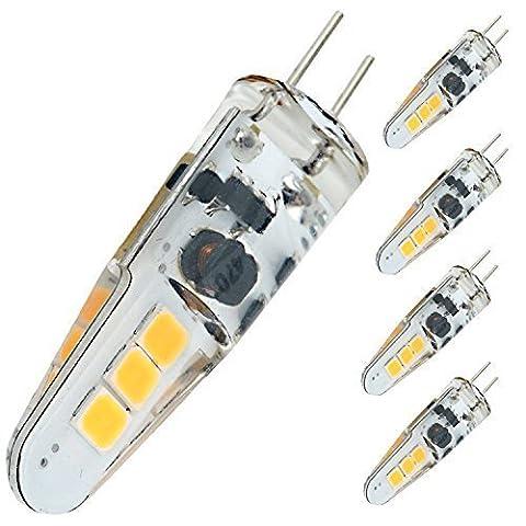 Bonlux 5-Packs DC 12V 2W Dimmable G4 LED Light Bulb
