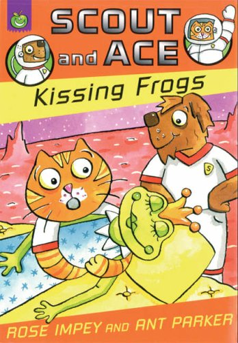 Scout and Ace kissing frogs