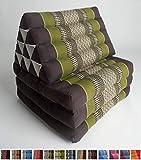 L'Originale dalla Tailandia: materassino con Cuscino Triangolare (Marrone Scuro, Verde, Bianco), Kapok