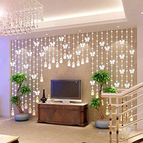 518NMnkJv1L - FAVOLOOK Cortina de cuentas de cristal con mariposas, cadena de araña, rollo de cuerda de cuentas para bricolaje, decoración de Navidad o boda, Morado claro, Tamaño libre