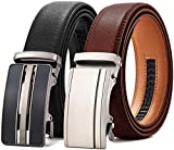 """Chaoren Leather Ratchet Belt 2 Pack Dress with Automatic Buckle 1 3/8"""" in Gift Set Box - Adjustable Trim to Fit (Square Buckle Brown&Black Slide Belt, 38'' to 48'' Waist Adjustable)"""