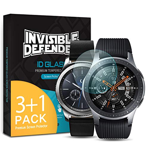 Ringke Invisible Defender Pellicola Protettiva [Vetro Temperato] [4-Pack] Compatibile con Galaxy Watch 46mm Gear S3 Shield Ultimate, qualità ad Alta Definizione, Tecnologia di Durezza 9H