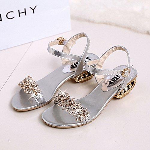 XY&GKDamen Sommer Sandalen grob Heel Strass Schuhe weichen Sohlen 36 Silver