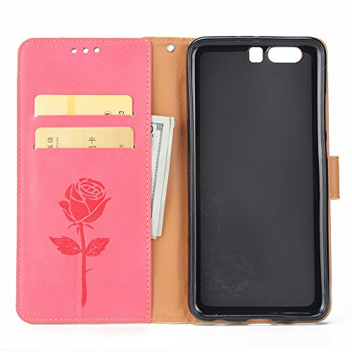 Dual Color Matching Premium PU Leder Flip Stand Case Cover mit Card Cash Slots und Lanyard für Huawei P10 ( Color : Purple ) Red
