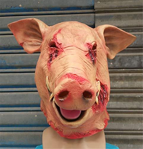 Szl Horror Big Tooth Blut Schwein Kopf Maske Halloween Terror Maske Wildschwein Schwein Acht Ring Maske