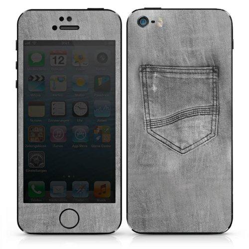 Apple iPhone 5 Case Skin Sticker aus Vinyl-Folie Aufkleber Jeans Style Hose Grau DesignSkins® glänzend