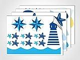 GRAZDesign 401030_4 Wandsticker Maritim Leuchtturm | Wandtattoo mit Seestern | Sticker Set für Badezimmer/Badfliesen (DIN A4 (4Stück))