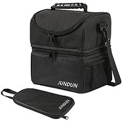 JUNDUN Bolsa Térmica con Bolso Accesorio para Llevar Cubiertos Almacenar alimentación y Bebida (Negro)