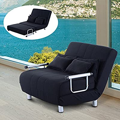 HOMCOM Double Sofa Bed Luxury Fabric Seat Sofabed Chair 2 Seater Adjustable Couch Lounger Anti-slip w/ 4 Pillows Black - inexpensive UK light store.
