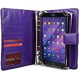 Asus FonePad 7 Dual Sim ME175CG / VivoTab 8 M81C Funda con Cuaderno, COOPER FOLDERTAB Lujosa Funda protectora tipo Portfolio para Viajes y Negocios en Poliuretano con Cuaderno y Bolsillo para Tarjetas (Púrpura)